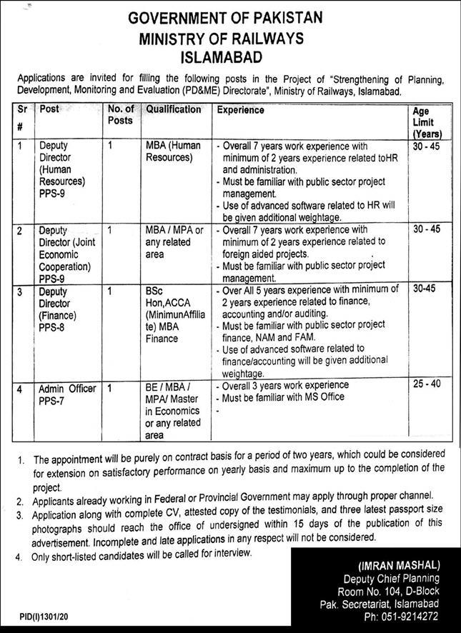 Ministry of Railways Jobs September 2020