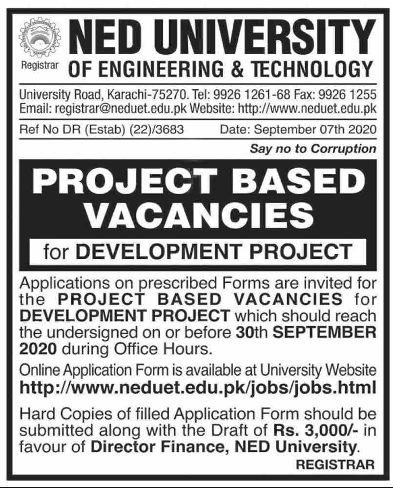 NED University Karachi Jobs September 2020