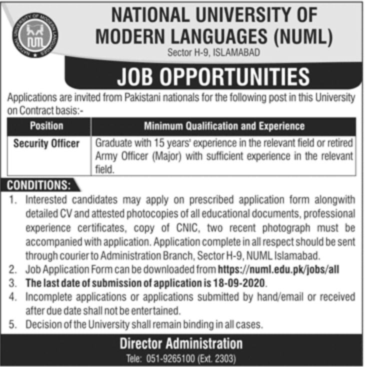 NUML Islamabad Jobs September 2020