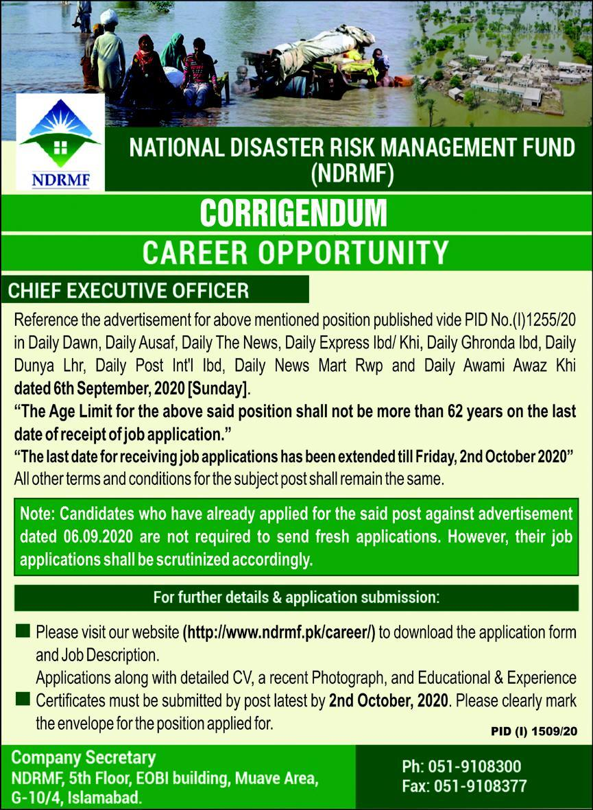 National Disaster Risk Management Fund NDRMF Jobs September 2020