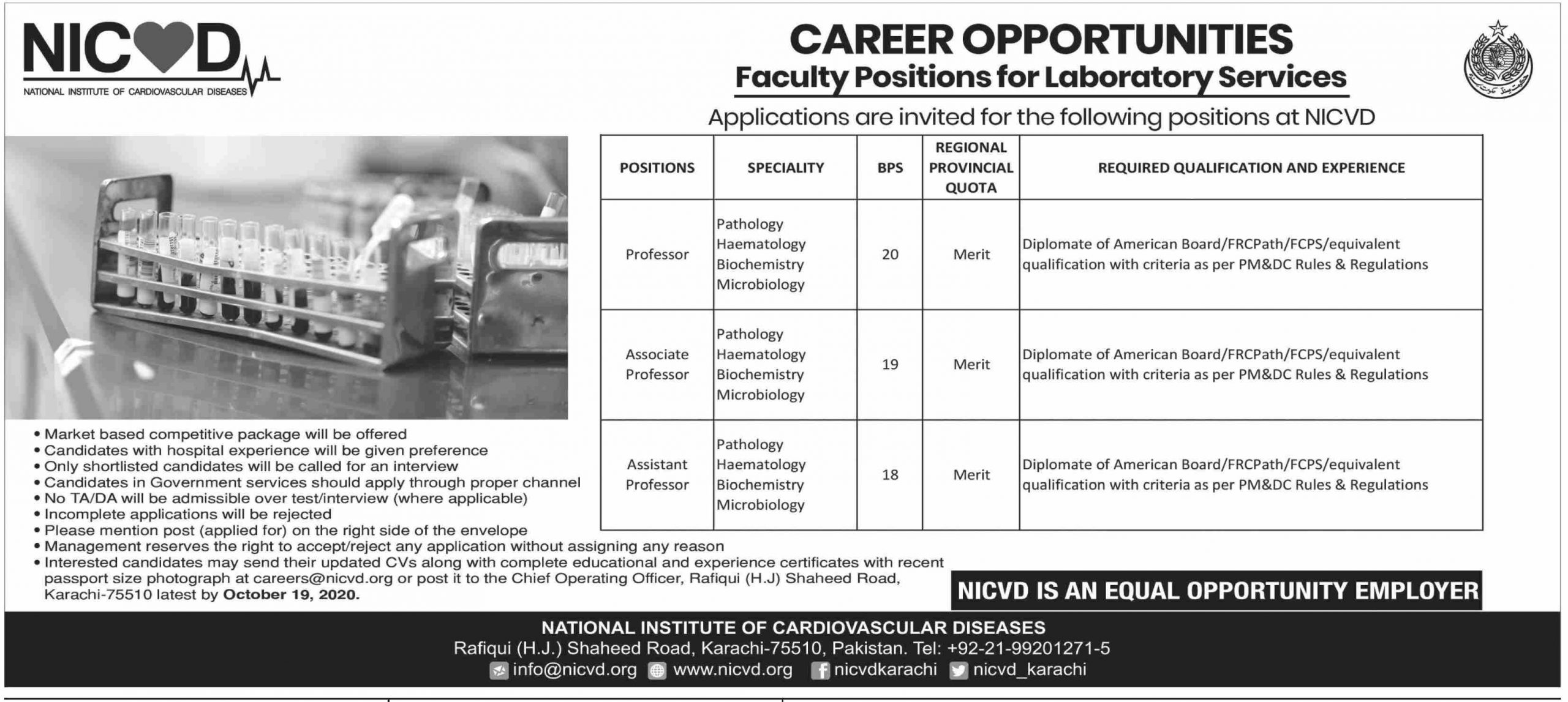 National Institute of Cardiovascular Diseases NICVD Jobs September 2020