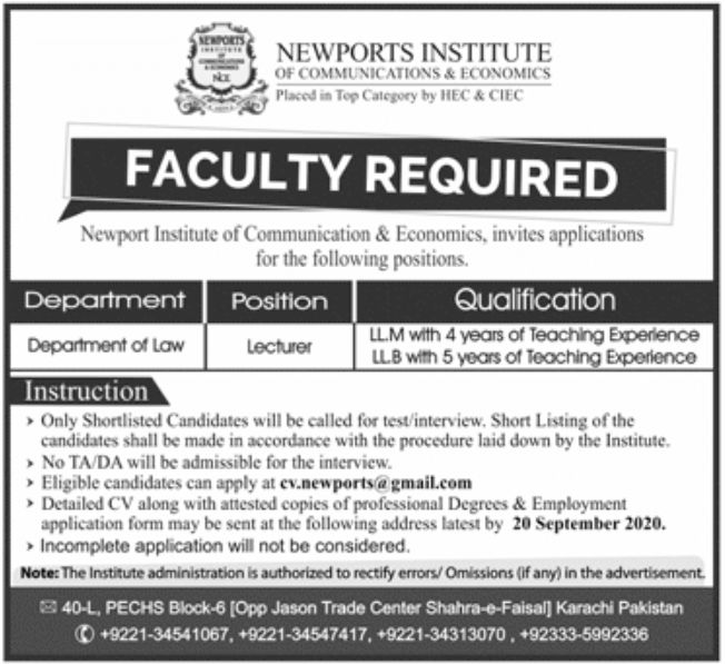 Newports Institute of Communications & Economics Jobs September 2020