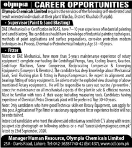 Olympia Chemicals Limited Jobs September 2020