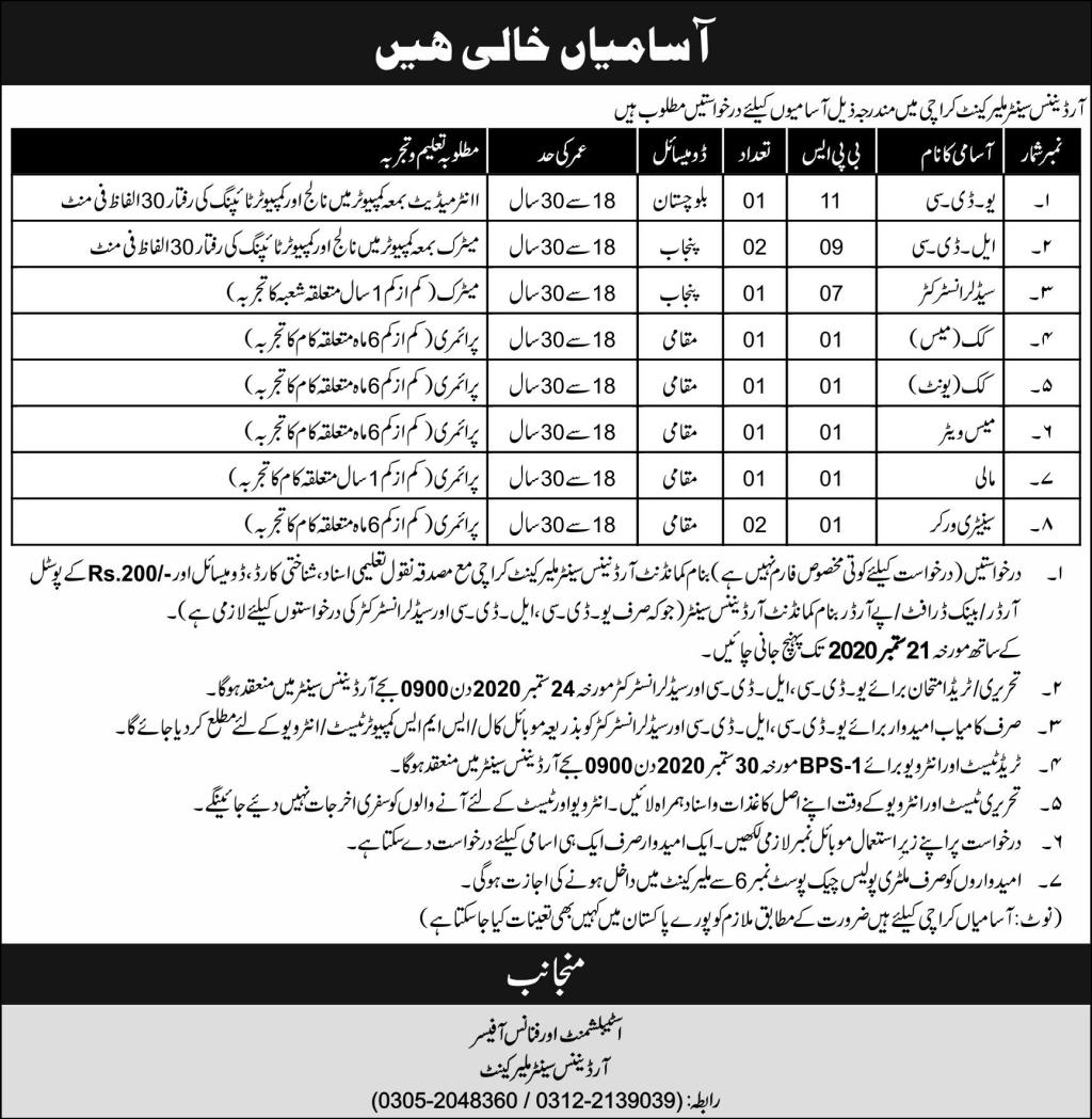 Ordinance Center Malir Cantt Karachi Jobs September 2020