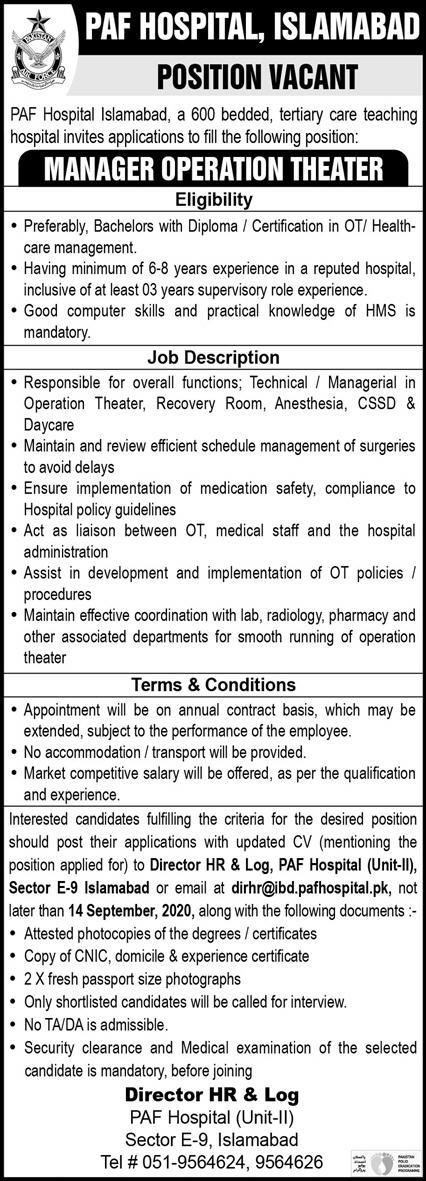 PAF Hospital Islamabad Jobs September 2020