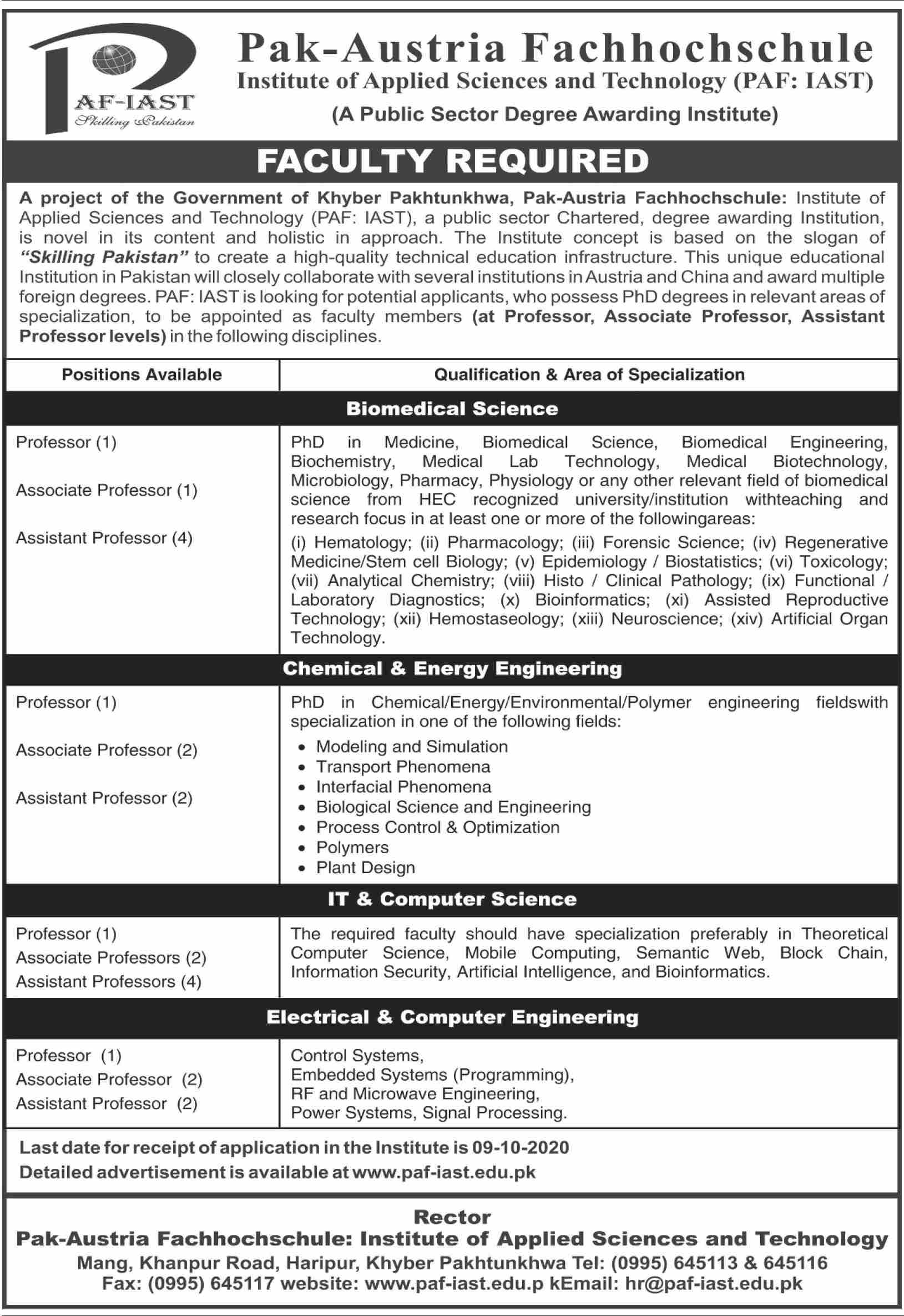 PAF-IAST Jobs September 2020