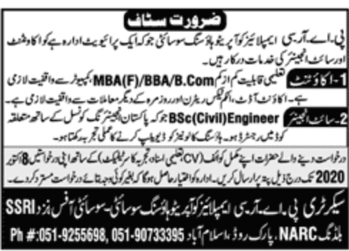 PARC Employees Cooperative Housing Society Jobs September 2020