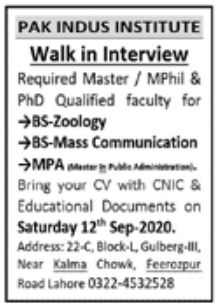 Pak Indus Institute Jobs September 2020