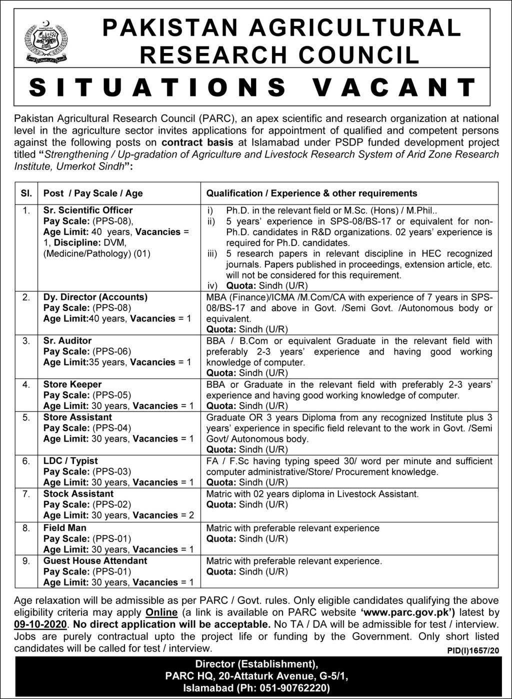 Pakistan Agricultural Research Council Jobs September 2020