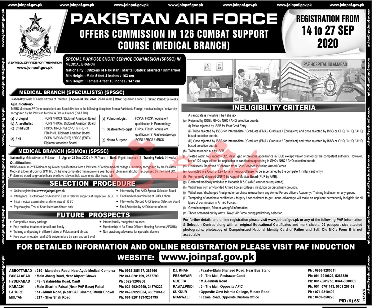 Pakistan Air Force PAF Jobs September 2020