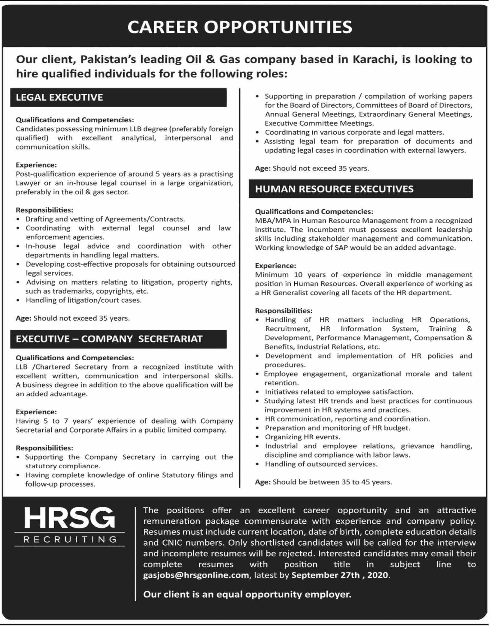 Pakistan Leading Oil & Gas Company Jobs September 2020