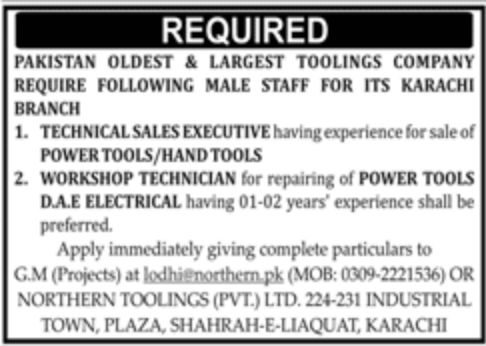 Pakistan Oldest & Largest Toolings Company Jobs September 2020