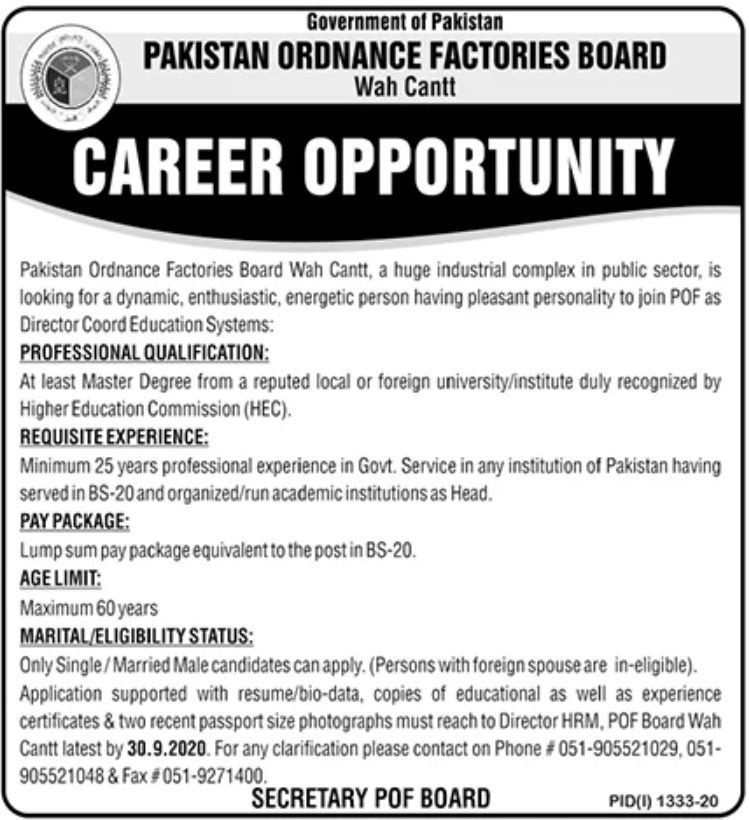 Pakistan Ordnance Factories Board Wah Cantt Jobs September 2020