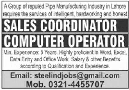 Pipe Manufacturing Industry Jobs September 2020