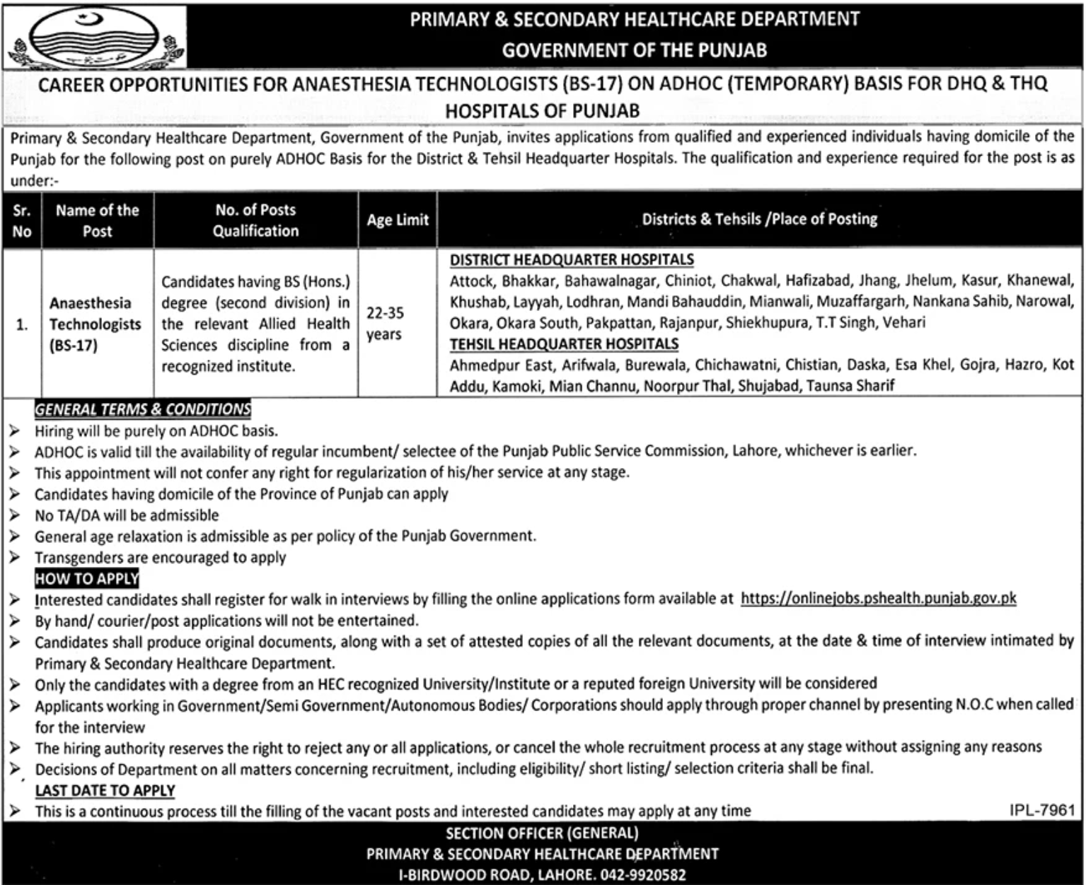 Primary & Secondary Healthcare Department Government of the Punjab Jobs September 2020