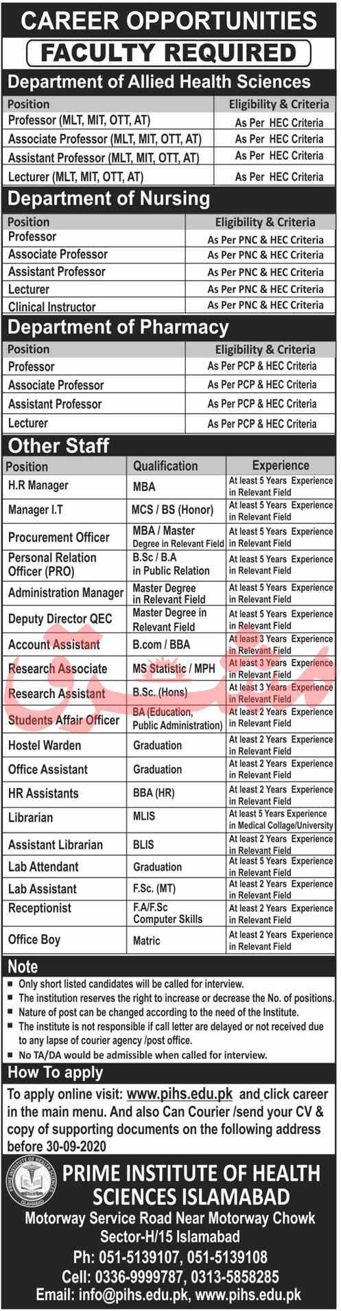 Prime Institute of Health Sciences Jobs September 2020