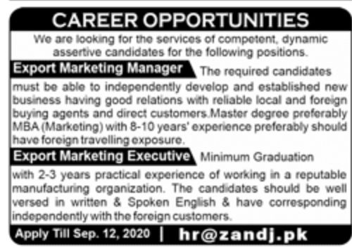 Private Sector Lahore Jobs September 2020