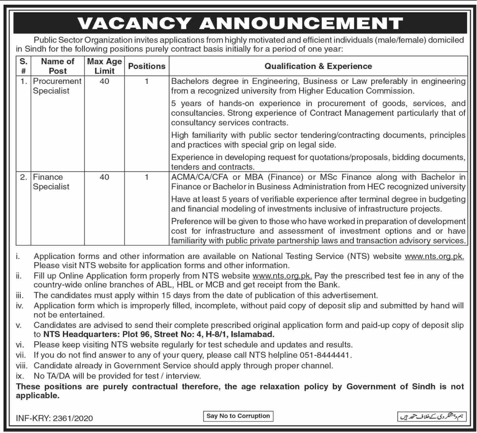 Public Sector Organization Jobs via NTS September 2020