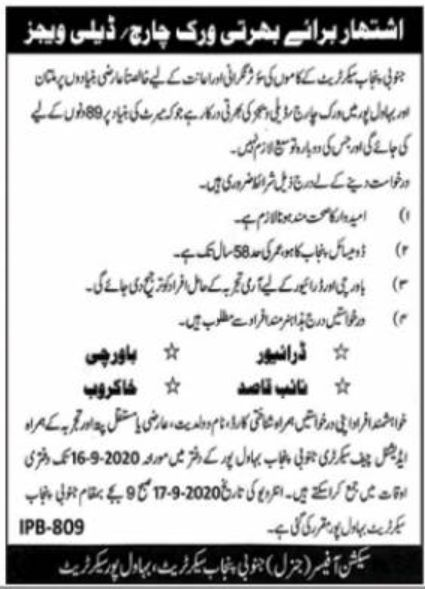 Punjab Secretariat Jobs September 2020