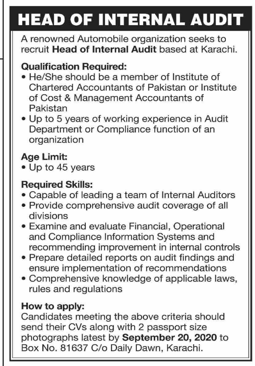 Renowned Automobile Organization Jobs September 2020