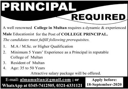 Renowned College Multan Jobs September 2020