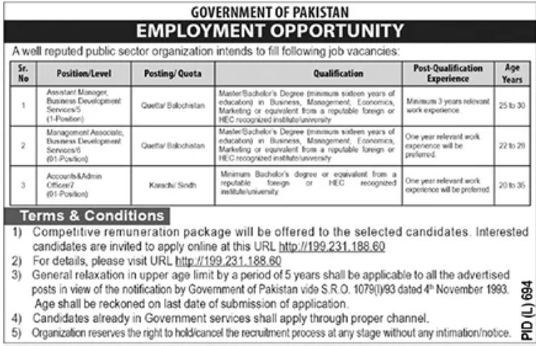 Reputed Public Sector Organization Government of Pakistan Jobs September 2020