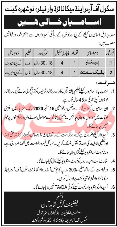 School of Armour and Mechanised Warfare Nowshera Jobs September 2020