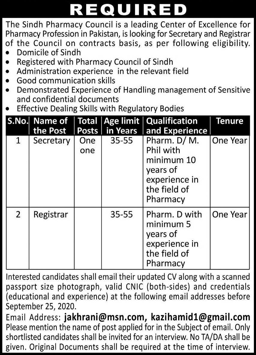 Sindh Pharmacy Council Jobs September 2020