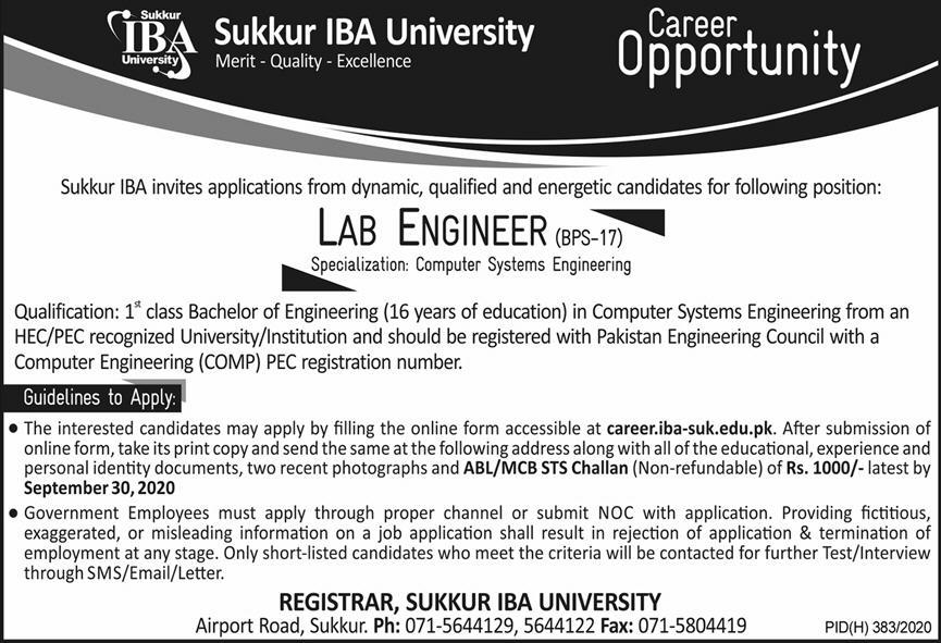 Sukkur IBA University Jobs September 2020