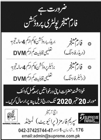 Supreme Farms Private Limited Jobs September 2020