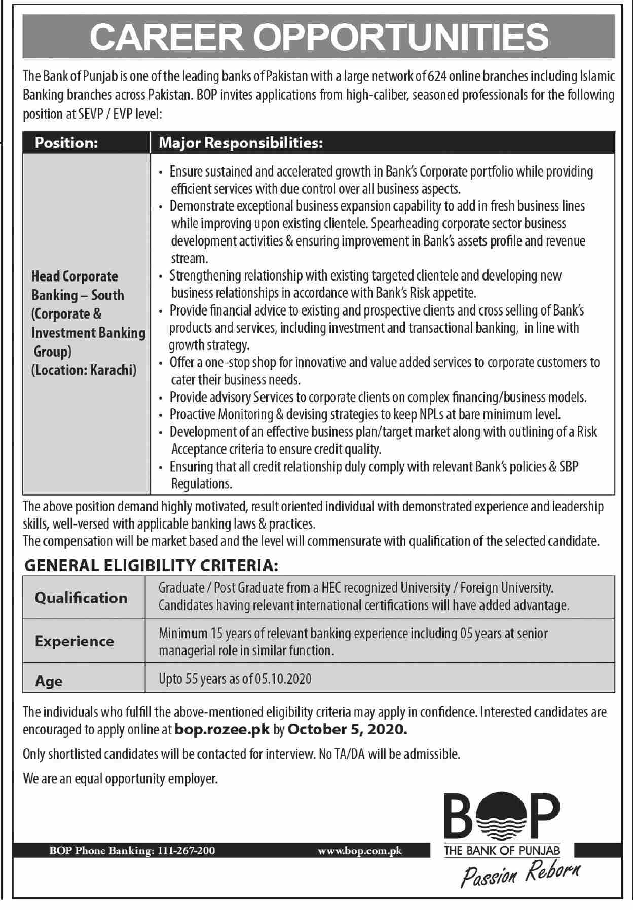 The Bank of Punjab BOP Jobs September 2020