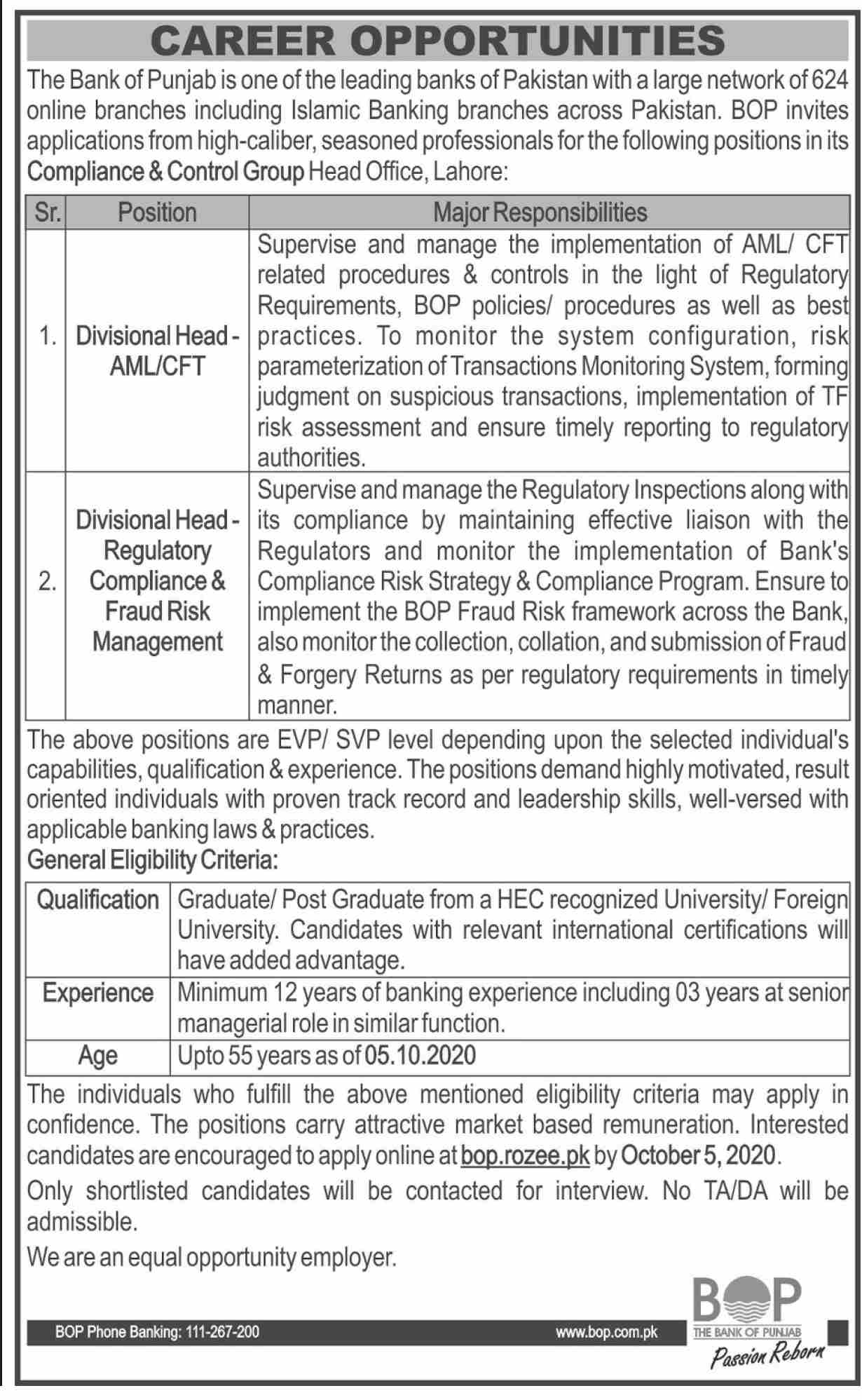 The Bank of Punjab Jobs September 2020