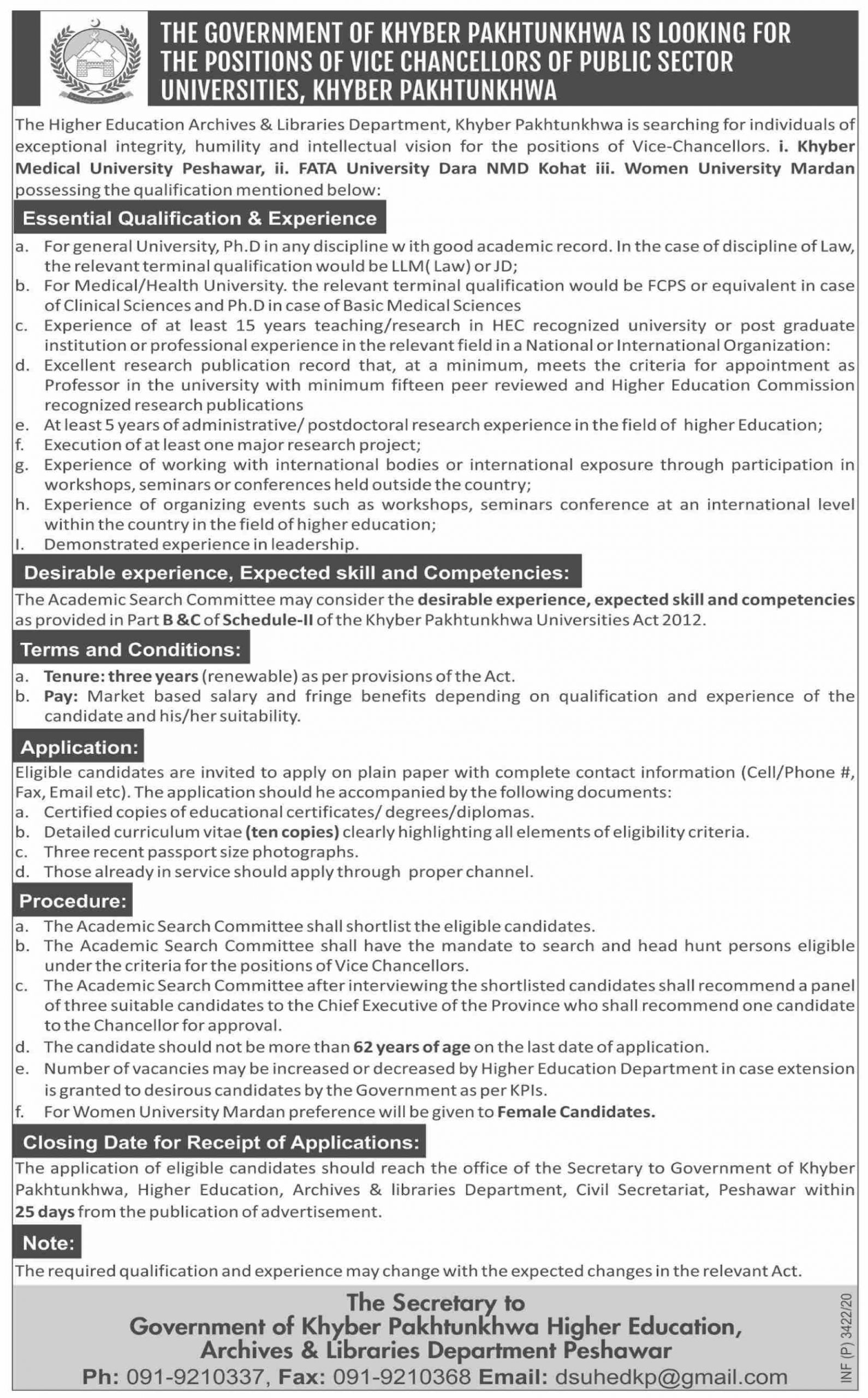 The Higher Education Archives & Libraries Department Khyber Pakhtunkhwa Jobs September 2020
