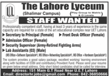 The Lahore Lyceum Jobs September 2020