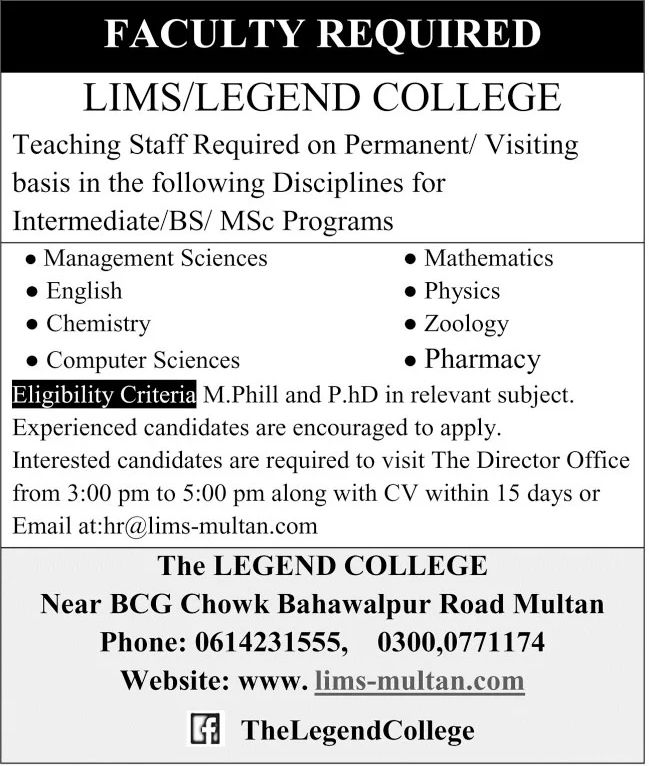 The Legend College Jobs September 2020