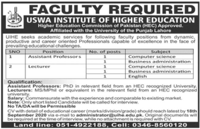 USWA Institute of Higher Education Lahore Jobs September 2020