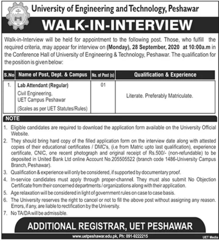University of Engineering and Technology Peshawar Jobs September 2020
