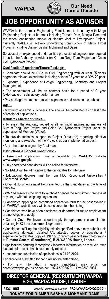 WAPDA Jobs September 2020