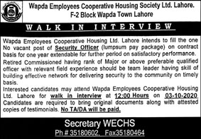 Wapda Employees Cooperative Housing Ltd Lahore Jobs September 2020