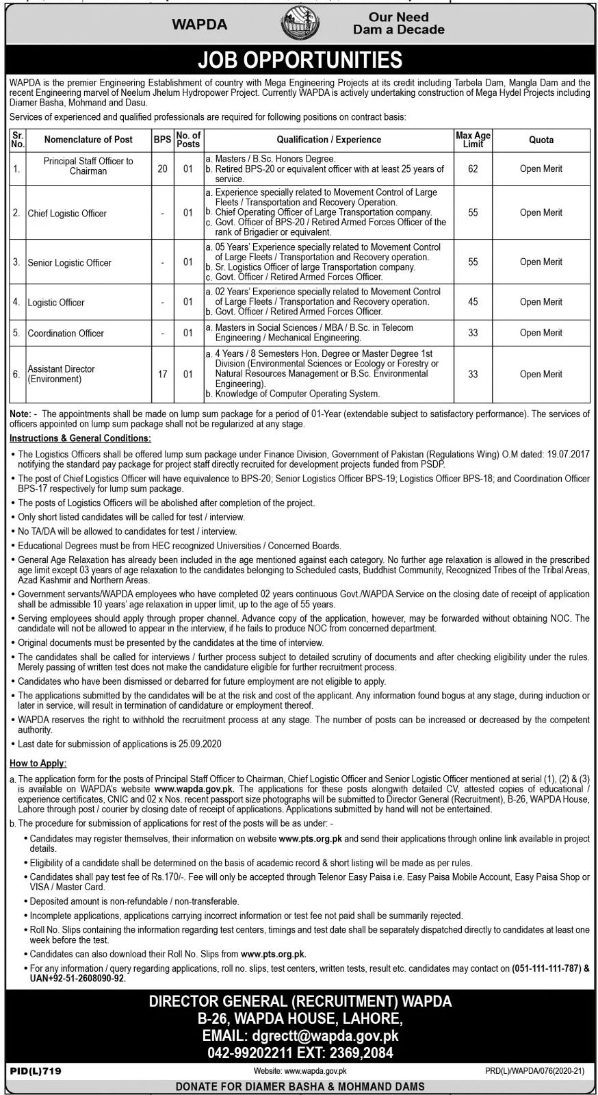 Water and Power Development Authority WAPDA Jobs September 2020