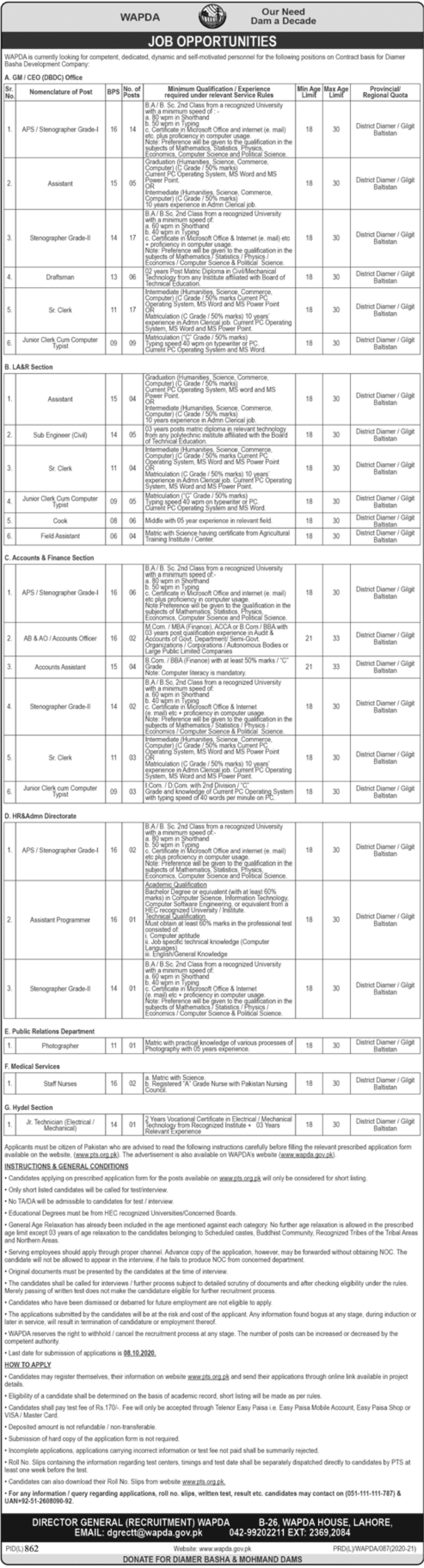 Water and Power Development Authority WAPDA Lahore Jobs September 2020