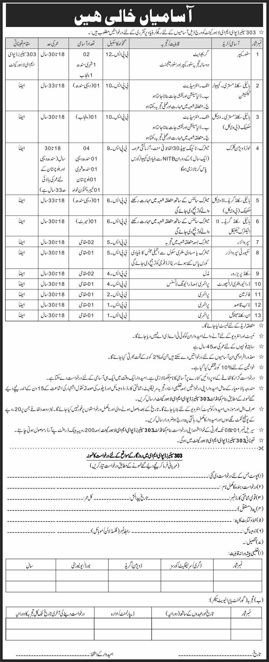 303 Spare Depot EME Lahore Cantt Jobs October 2020