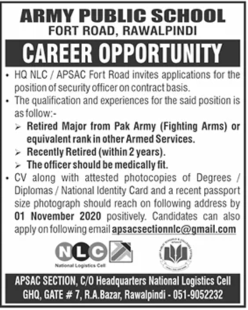 Army Public School Rawalpindi Jobs October 2020