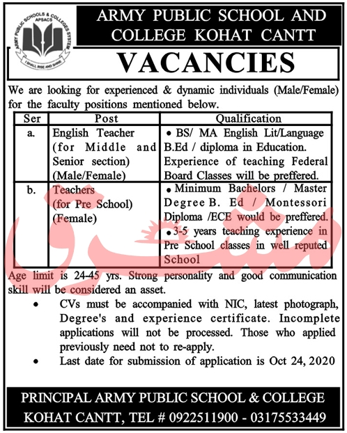 Army Public School and College APS&CS Jobs October 2020