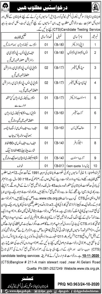 Balochistan Employees Social Security Institution Jobs October 2020