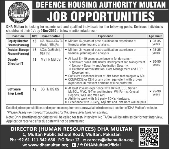 Defence Housing Authority (DHA) Multan Jobs October 2020