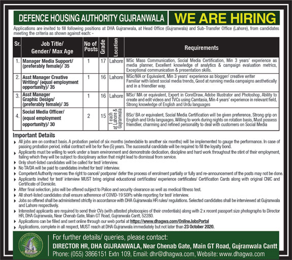 Defence Housing Authority Gujranwala Jobs October 2020