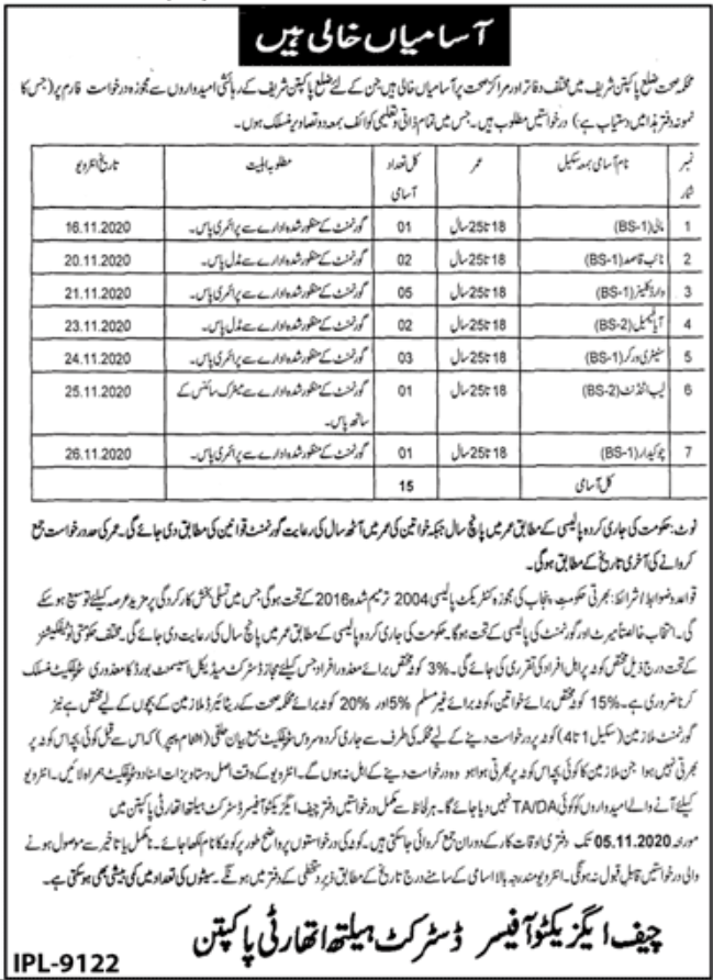 District Health Authority Pakpattan Jobs October 2020