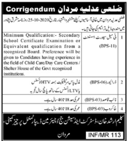 District and Session Court Mardan Jobs October 2020