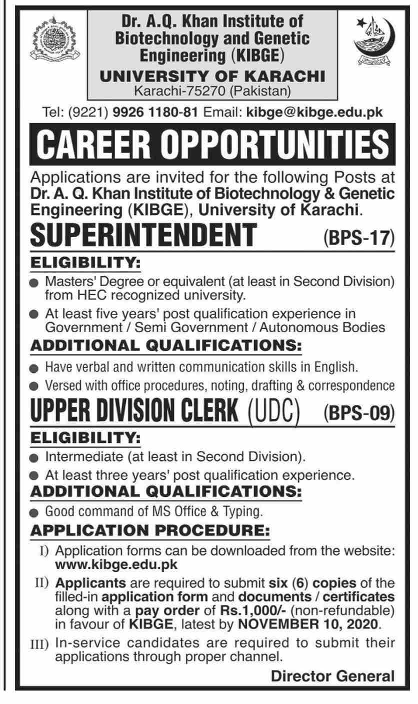 Dr AQ Khan Institute of Biotechnology and Genetic Engineering University of Karachi Jobs October 2020